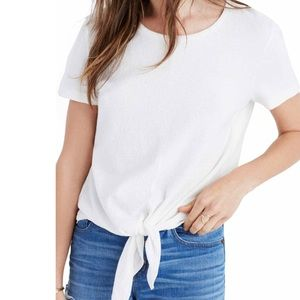 Madewell tie front classic white t shirt XS NWT